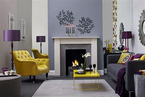 purple yellow and grey bedroom