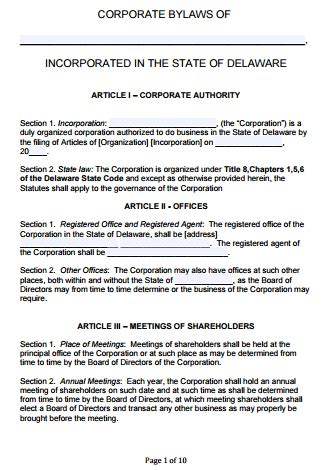 free delaware corporate bylaws template pdf word