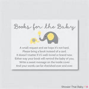 elephant baby shower bring a book instead of a card invitation inserts instant