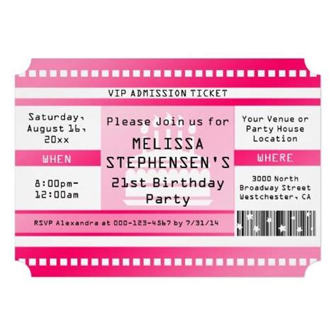 pink fan tickets pink birthday birthday invitations and