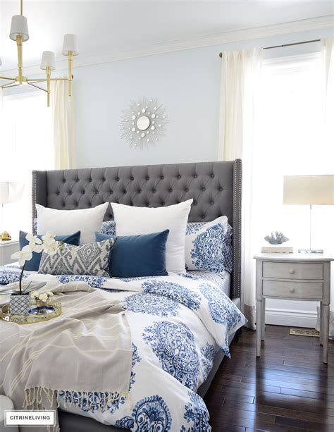 white and blue bedroom ideas citrineliving spring in full swing home tour 2017