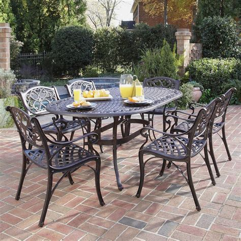 Aluminum Patio Furniture Set Shop Home Styles Biscayne 7 Rust Bronze Aluminum Patio Dining Set At Lowes