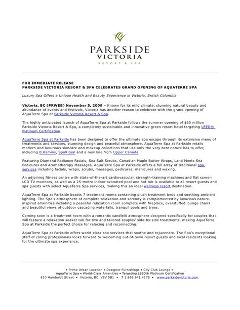 grand opening press release template nov09 parkside aqua terre opening press release