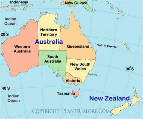 map of australia with oceans types map of new zealand ornamental plant information