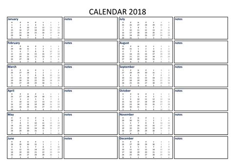 calendar excel   notes    printable   excel calendar including