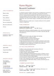 Curriculum Vitae For Doctors by Research Coordinator Cv Hashdoc