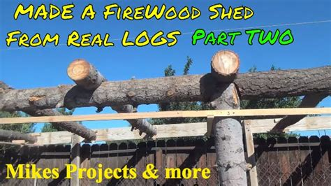build rustic log firewood shed p youtube