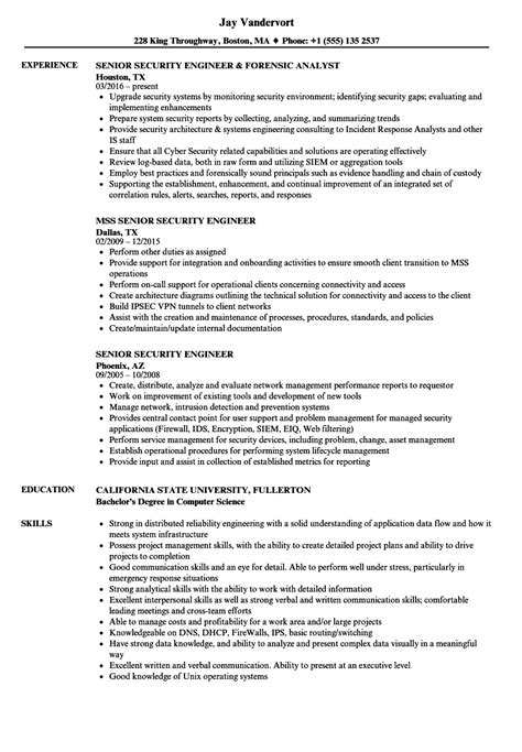 security engineer resume sle senior security engineer resume sles velvet