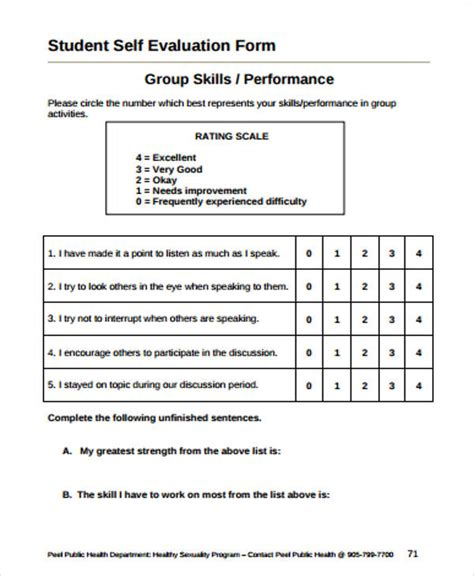 student self evaluation templates 9 simple student evaluation forms sle templates