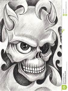art skull devil tattoo stock illustration image 66271734