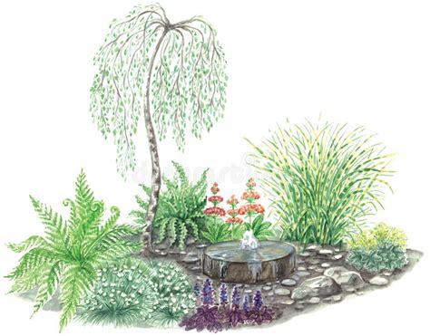 disegno giardino disegno giardino con poca fontana illustrazione di