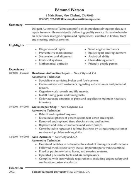 automotive technician resume exles exle of resume for construction sle maintenance