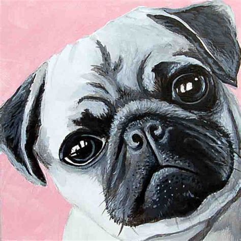 pug painting pug portrait painting lover pug gift