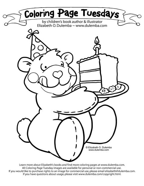 birthday bear coloring page dulemba coloring page tuesday birthday cake bear