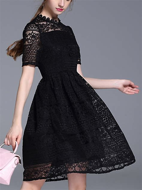 Sleeve A Line Lace Midi Dress black a line sheer sleeve lace midi dress metisu