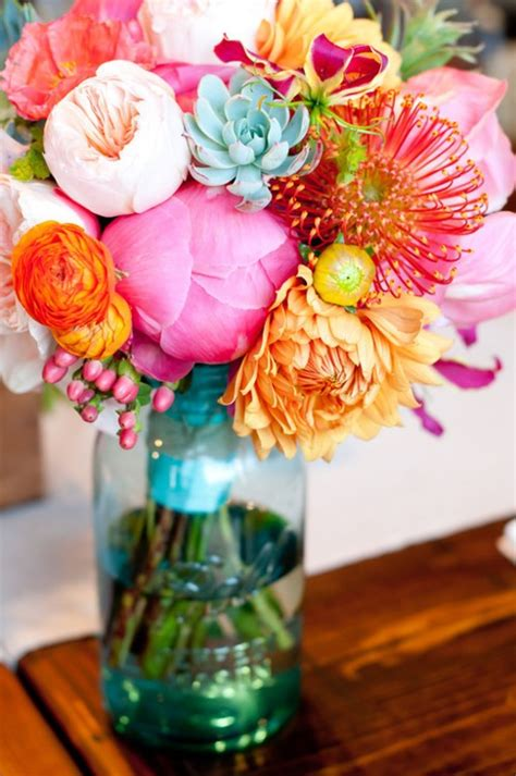 colorful spring flowers bouquet expressive flowers