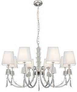white chandelier with shades portico polished chrome 8 light chandelier white string
