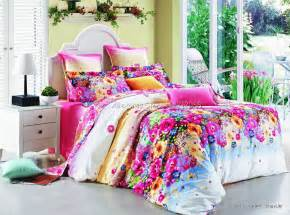 Colorful Quilt Bedding Stylish Colorful Flower Floral Pattern Pink 4pcs