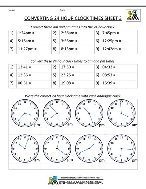 Military Time Conversion 24 Hour Clock 3 School