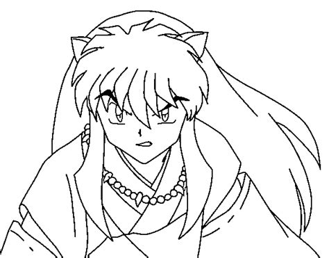 imagenes de inuyasha para dibujar a lapiz dibujo de guerrero inuyasha para colorear dibujos net