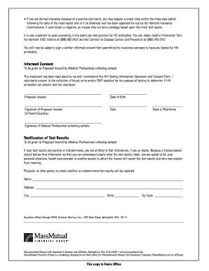Mass Mutual Hiv Consent Form Fill Online Printable Fillable Blank Pdffiller Hiv Consent Form Template