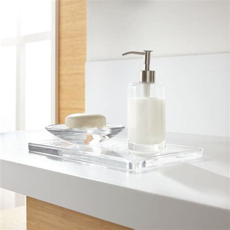 bathroom products glass bathroom accessories set of 3 crate and barrel