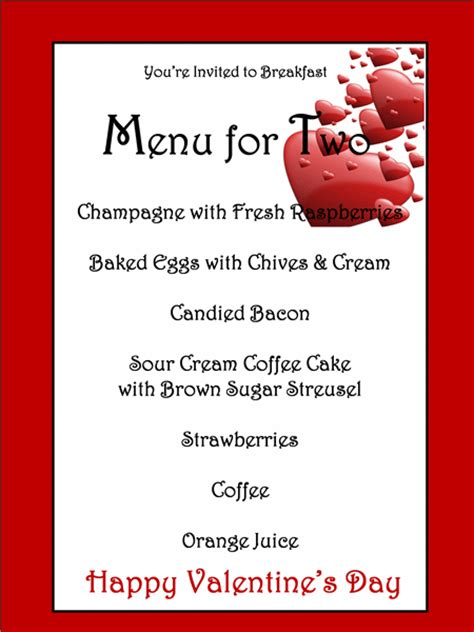 menu template for valentines day eventful pinterest