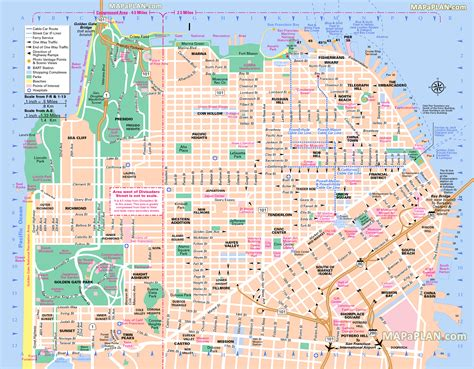 san francisco map to print san francisco landmarks map