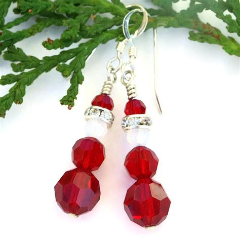 Handcrafted Santas - santa earrings handmade swarovski