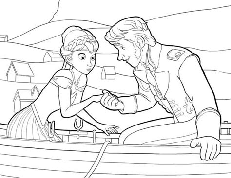 anna and hans on the boat coloring page free printable