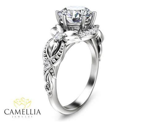 floral diamond engagement ring in 14k white gold diamond