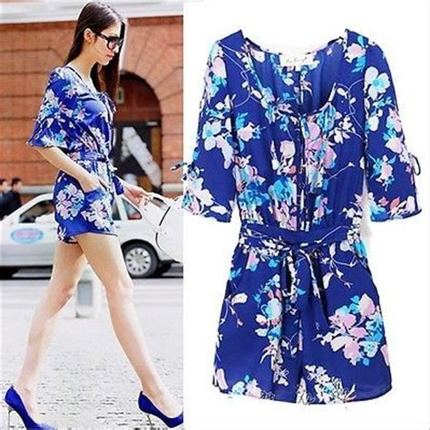 flower pattern jumpsuit details about new women flower pattern print slim fit