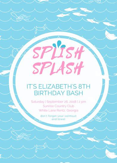 pool invitation template word pool invitation templates canva