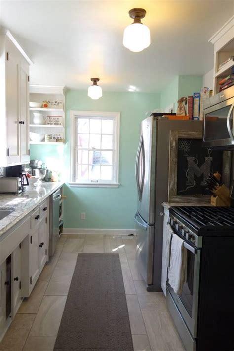 galley kitchen 1940s quartz renovation sherwin williams breaktime cambria bellingham