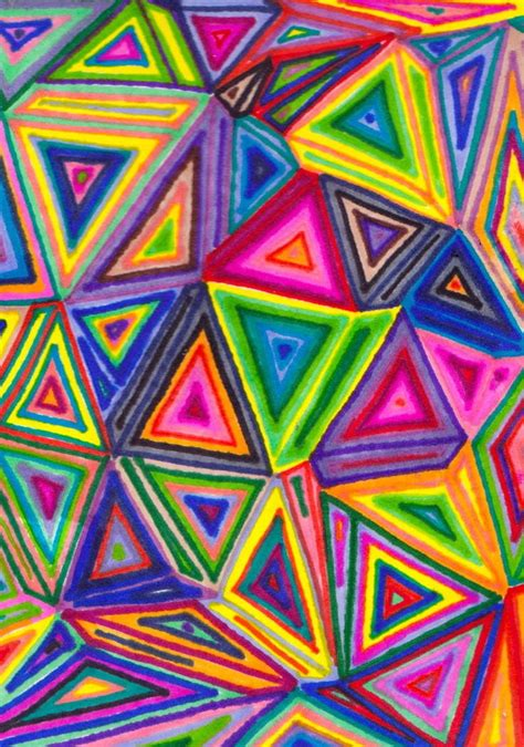 art design with geometric figures prismatic geometrystart with a shape oil pastels