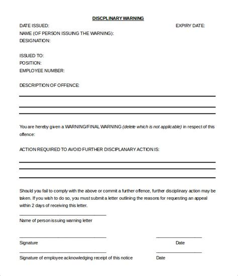 hr memo template 33 hr warning letters free sle exle format