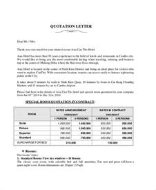 Offer Letter Format Hotel 7 Sle Quotation Letter Free Sle Exle Format