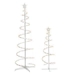 aluminum circular christmas tree dxf home accents led lighted spiral tree 2 pack ty s46 c the home depot