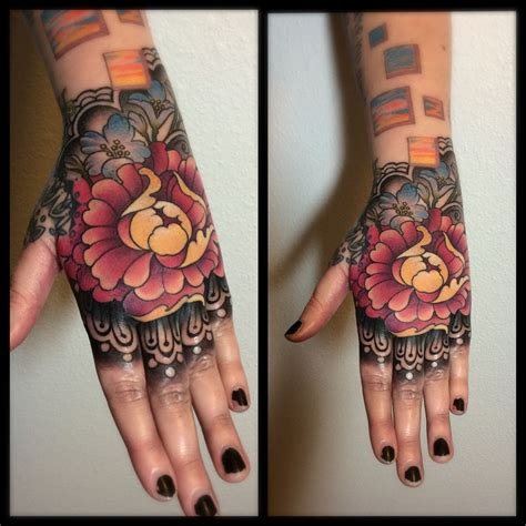 hand flower tattoo laurajade peony flowers floral peony