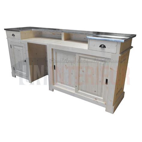 comptoir bar d accueil 240cm chr pin zinc