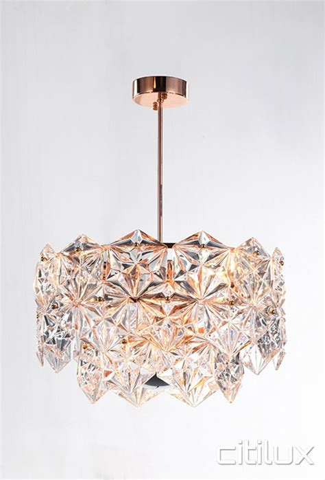 rose gold chandelier light lighting australia mirka 6 lights pendant rose gold