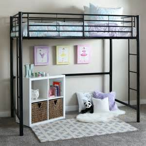 Walker edison sunset metal twin loft bunk bed in black btolbl