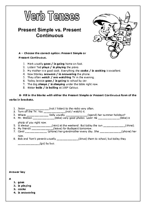 Simple Present Present Continuous Worksheet by Verb Tenses Present Simple Vs Present Continuous Worksheet