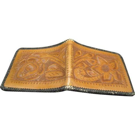 Handmade Western Leather Wallets - leather wallet western design tooled bi fold vintage