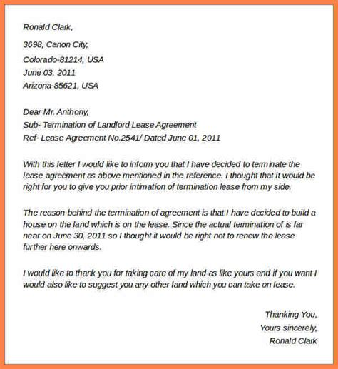 landlord termination of lease letter template 4 sle termination of lease agreement letter purchase