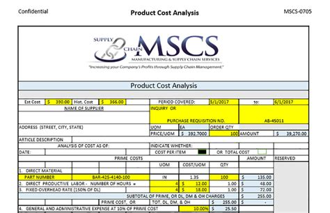 product cost analysis template cost analysis template