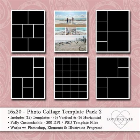 16x20 Photo Collage Template Pack Photo Template Digital 20 Photo Collage Template