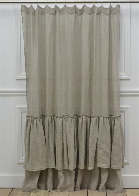 linen ruffle curtain linen ruffle shower curtain home wish list pinterest