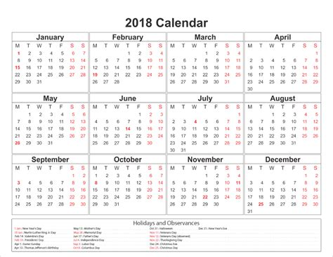 table calendar 2018 template free free yearly printable calendar 2018 editable