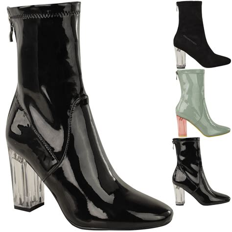 high heel fashion boots new womens ankle boots clear perspex block high